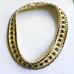 Jewelry - Goldtone Black Mesh Necklace